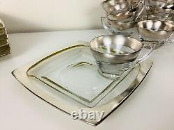 Vintage Dorothy Thorpe Silver Band Snack Plates and Cups Set Of 8 Mad Men Decor