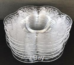 Vintage Duncan Miller Indian Tree Etched Canterbury Elegant Glass Plates Set (8)