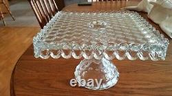 Vintage FOSTORIA AMERICAN GLASS SQUARE PEDESTAL CAKE STAND / PLATE with RUM WELL