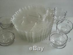 Vintage Federal Glass Homestead Snack Set 12pc Clear Glass Luncheon Cups Plates