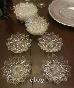 Vintage Federal Pressed Clear Glass PETAL Star Cross 8 Bread Plates & 8 Bowls
