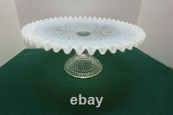 Vintage Fenton French Opalescent Glass Hobnail Cake Pedestal Plate Stand