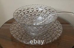 Vintage Fostoria American Pattern 12 7/8 Punch Bowl / 15 5/8 under plate/spoon