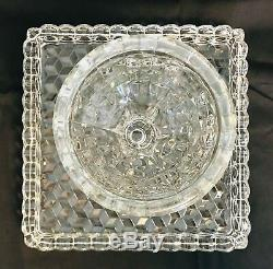 Vintage Fostoria American Square Cake Stand Plate Rum Well Salver