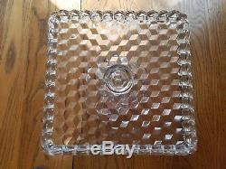 Vintage Fostoria Crystal American 10 Square Cake Stand Plate Rum Well