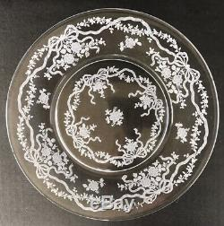 Vintage Fostoria Romance Etched Elegant Glass Dinner Plates 9 1/2 Set Of 6