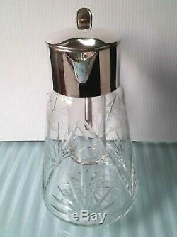 Vintage GERMANY MARKED Pitcher Silver Plate Cut Crystal W Glass Ice Insert Heavy