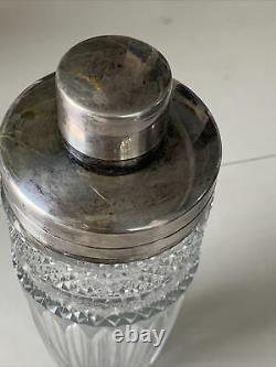 Vintage & Heavy Cocktail Shaker Cut Crystal Silver Plated Top Signed W Germany