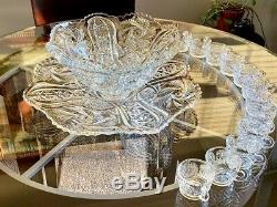 Vintage L. E. Smith Galaxy Punch Bowl Set with Under Plate 12 Cups & Glass Ladle