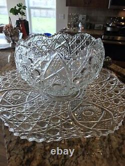 Vintage L. E. Smith Punch Bowl Set with Under Plate 12 Cups