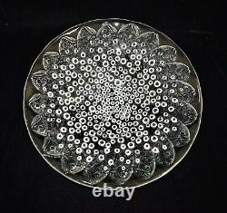 Vintage Lalique Crystal Serving Bowl Deep Plate Platter Fish Bubbles Centerpiece
