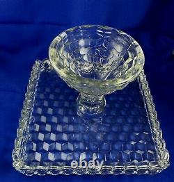 Vintage Large 10 Fostoria American Footed Cake Plate / Stand with Rum Well