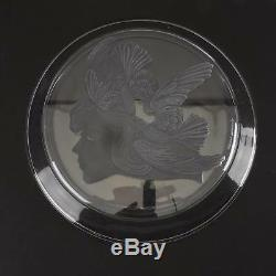 Vintage Luciana Roselli for Lalique Woman with Birds in Hair Crystal Plate