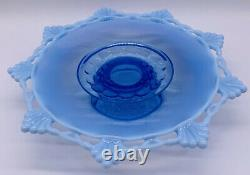 Vintage Mosser Glass Opalescence Pedastal Cake Stand Plate Footed Blue Frosted