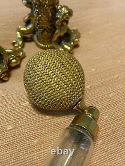 Vintage Pair-Twin Cherub Puffer Atomizer Perfume Bottles 24K Gold Plated 1930s