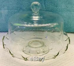 Vintage Princess House Etched Crystal Heritage Houe Domed/ Cake Plate / Stand