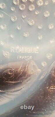 Vintage R Lalique Crystal Serving Plate Fish Bubbles Opalescent Clear Signed