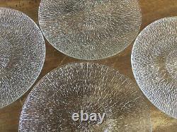 Vintage SET 4 Iittala Tapio Wirkkala Finland Aslak Glass 7.5 Plates MCM