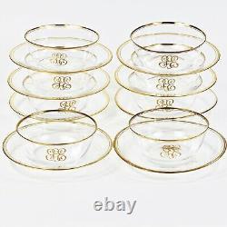 Vintage Set of 8 Finger Bowls and under Plates Fine clear crystal gold trimming