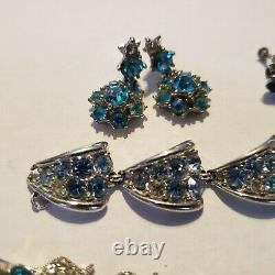 Vintage Signed Bogoff Lot Necklace, bracelets Earrings rhodium plated. Aqua, clear