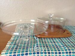 Vintage Teak and Glass Dome Lid Cake or Pie or Cheese Board & Plate Stand