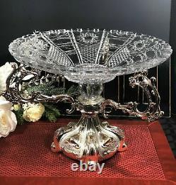 Vintage Vase Art Nouveau Silver-Plated Glass Centerpiece Epergne Large