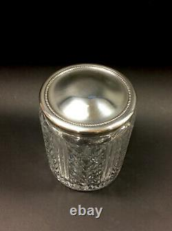 Vintage WATERFORD Clear Chevron-Patterned Cut Crystal Silver-Plated Lid Humidor