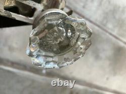 Vtg 12 Pt Crystal Glass Door Knobs, Mortise Locks, Strike Plates and Back Plates