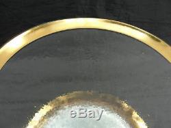 Vtg 8 Signed Annieglass Roman Antique 24kt Gold 12 Buffet/dinner Plates Charger