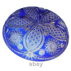 Vtg Brilliant Cut To Clear Cobalt Blue Crystal Glass Hobstar Dish Bowl Plate 11