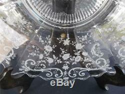 Vtg Cambridge Martha Chantilly Etched 14 Torte Plate Platter Xlnt! Rare