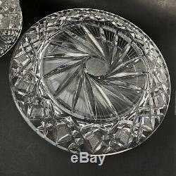 Vtg Cut Crystal Etched Flower Crystal Domed Dome Cake Plate HUGE & HEAVY SUPERB