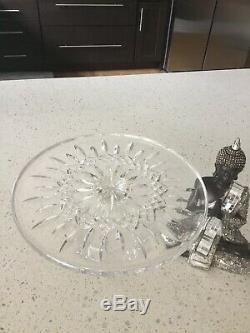 WATERFORD CRYSTAL LISMORE FOOTED CAKE PLATE & Knife & Fork Servers NIB
