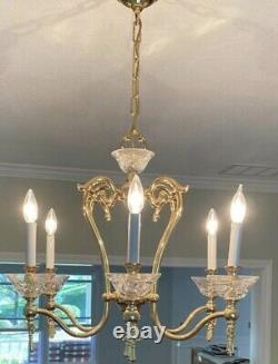 WATERFORD Georgetown Gold Plated Polished Brass Irish Crystal Chandelier