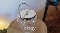 WMF art nouveau cut glass biscuit barrell, lovely condition silver plate ok