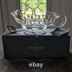 Waterford Crystal LISMORE Gravy SAUCE Boat 9 & Silver Plated Ladle / Spoon NOS