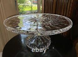 Waterford Crystal Lismore 11 Pedestal Cake Plate Stand / Seahorse Mark