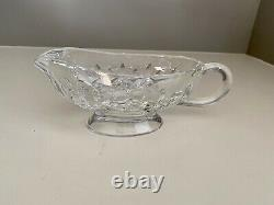 Waterford Crystal Lismore Sauce/Gravy Boat & Sliver Plated Spoon