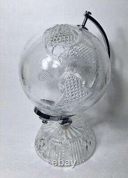 Waterford Crystal World Globe Silver Plate Axis Mount 11.5 H