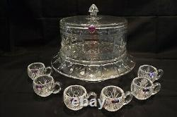 Waterford Marquis Crystal Finley 3 In 1 Cake Plate & Dome/punch Bowl Plus Cups