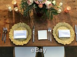 Wedding Dinner Table Leaf Glass Charger Plate 33 cm Gold/Silver/ Clear