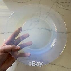 Yalos Casa Murano Glass Plates White Translucent Set of Four Dinner 10 Italy